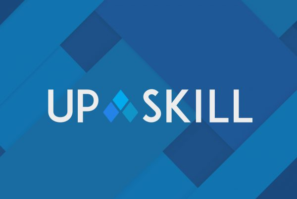 Upskill logo on blue background