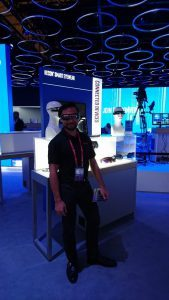 Upskill's Andrew Sugaya at the booth during mobile world congress.