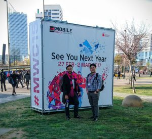 Upskill's Andrew Sugaya and Jay Kim in front of MWC 2017 Sign