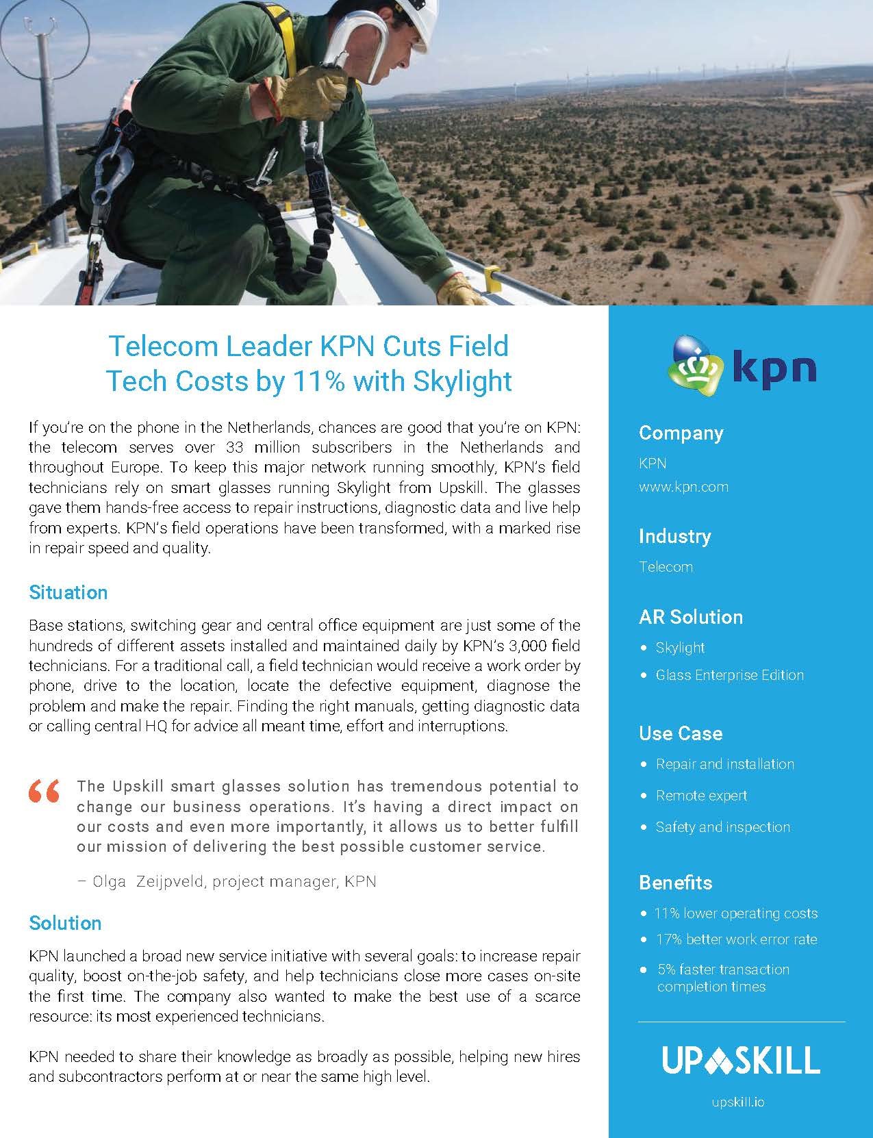 Augmented reality for telecom companies case study: Telecom Leader KPN Cuts Field Tech Costs by 11 percent with Skylight AR Platform