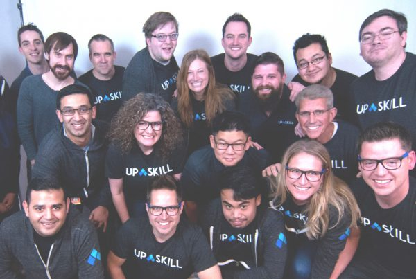Upskill employees gather to celebrate their new company name