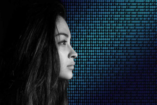 young girl with binary background