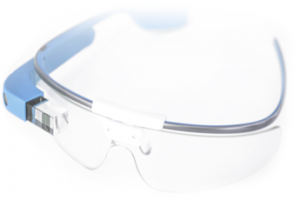 blue google glasses