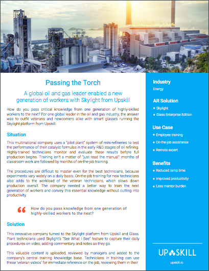 Passing the Torch - A global oil and gas leader enabled a new generation of workers with Skylight from Upskill